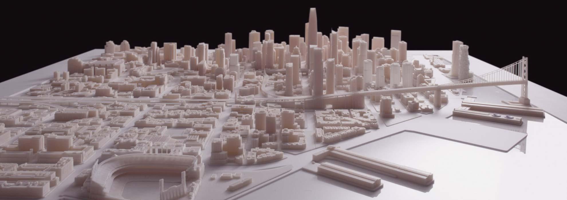 Модель части города напечатанная на 3Д принтере