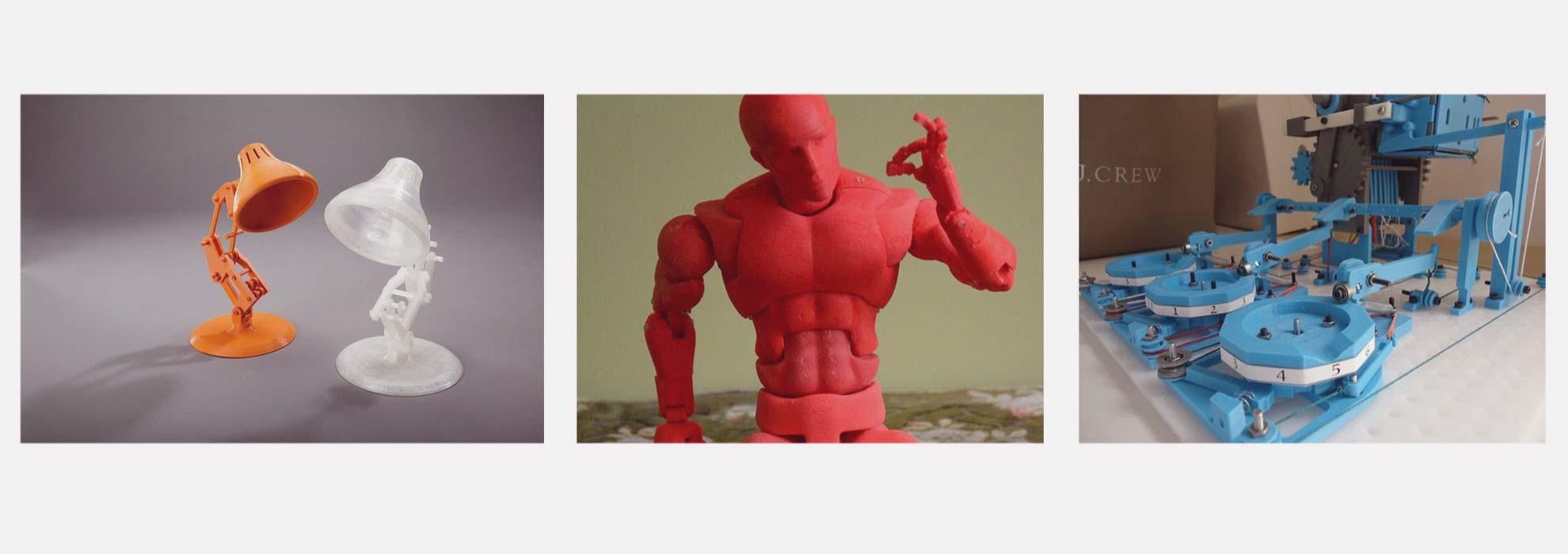 Игрушки в виде настольных ламп, человечек. Работающий 3Д принтер